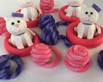 Kitty Cat Theme Fondant Cupcake Toppers Birthday