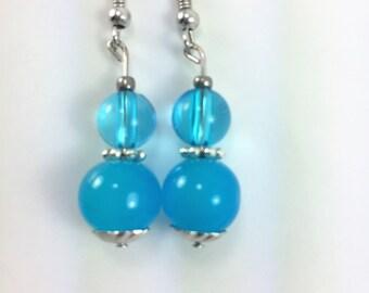 Pretty aqua blue earrings #77