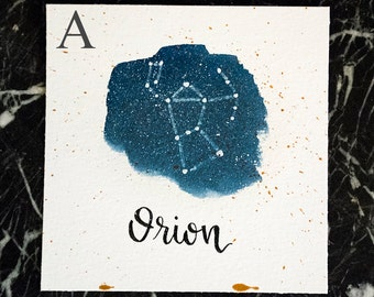 Orion Constellation Painting - Galaxy, Night Sky, Stars, Original Watercolor