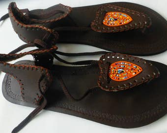Leather Sandals with Masai Beads