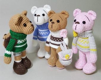 crochet amigurumi pattern turtleneck bears