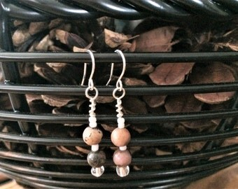 Semi Precious Rhodonite Stone and Glass accent bead Dangle earrings Nickle Free Headpins and Ear Wires