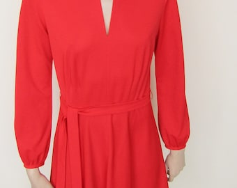 Red 70s Dress with Ruffled Hem - Size 12/14