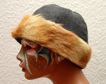 CAP, Viking, RUS, fur Fox, Gr. 62, wool, herringbone, linen