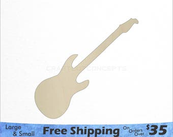 Guitar Shape - Large & Small - Pick Size - Laser Cut Unfinished Wood Cutout Shapes (SO-0076)