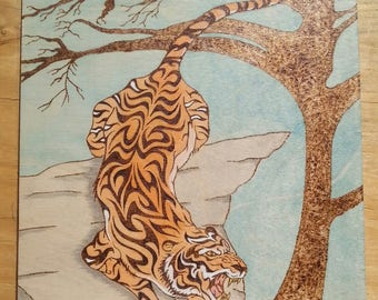 Crouching Tiger- Pyrography, Wood burning art
