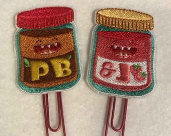 Peanut butter and jelly planner clip set