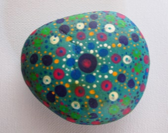 Hand painted, mandala garden rock, stone ornament.