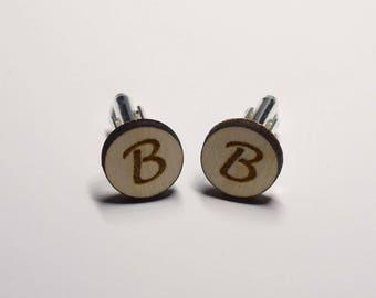 Engraved Monogram Cufflinks - Wood - Personalized