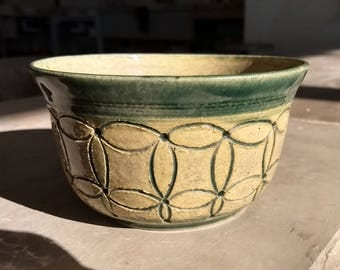 Hand Carved Sacred Geometry Soup Bowl
