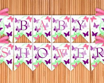 Butterfly - Baby Shower Printable Banner - Instant Download