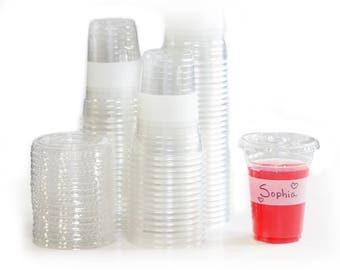 Tovla Clear Plastic 9 oz. Drinking Cups with Lids (100-Count Set) | Disposable Party Drinkware, Writable Exterior | Kids