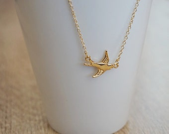 Bird, swallow, bird, gold plated 18 k necklace
