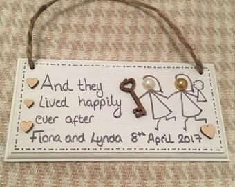 Personalised wedding plaque, lesbian wedding, civil partnership