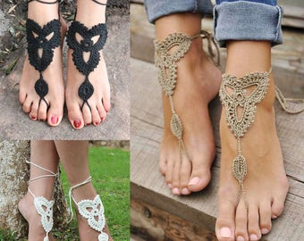 Barefoot sandals, sandals, fashion, barefoot sandals of crochet cotton, foot, ankle bracelet, chain of gift jewelry