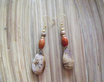 Picture jasper earrings, earrings Jasper and agate, jasper earrings, jasper earrings, Golden earrings