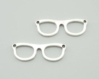 30pcs 10x30mm Antique Silver Sunglasses Charm Pendants ZH108