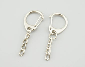 20pcs 46mm  White K Alloy Key Ring With Big D Clasp Key Chains DIY Key Chain KY003