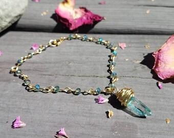 Angel Aura Quartz Crystal Anklet - Bohemian Fashion - Gemstone Jewelry