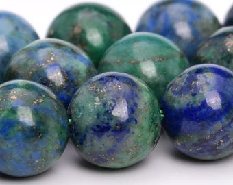 "10MM Azurite Natural Gemstone Full Strand Round Loose Beads 15"" (101115-321)"