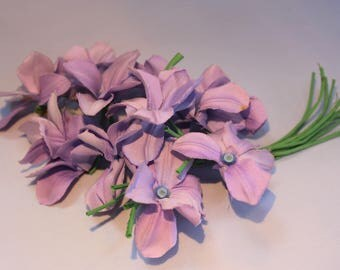Vintage 1970's Lilac Fabric Flower Corsage Wedding Millinery Hat Display