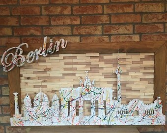 Picture skyline Berlin art from wood