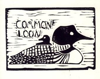 Common Loon Linocut Print