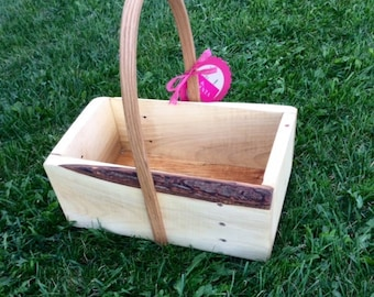 Planter for Indoor or Out - Live Edge - Hand bent handle - Oak Planter - Reclaimed Wood