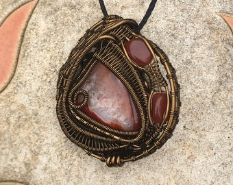Copper Wire Wrapped Pendant