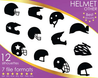 12 Silhouettes, Helmet, Head, Sport, Sports, Other, Others, dxf, eps, fcm, jpg, pdf, png, svg, Vinyl design, Silhouette, Cricut, ScanNCut