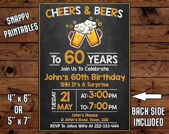 Surprise 60th Birthday Invitation For Men, Birthday Invite, Party Invite, Printable, Digital File - 033