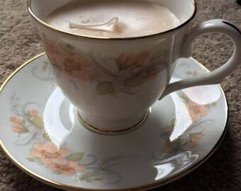 Selection of Scented Candles in Vintage Teacups