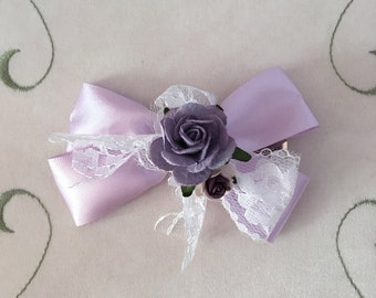 Lavender rose lace bow alligator hair clip