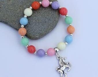 Unicorn Charm Bracelet, Unicorn Bracelet, Unicorn Jewellery, Unicorn Gift, Girl's Unicorn Bracelet, Girl's Rainbow Bracelet, Unicorn Charm