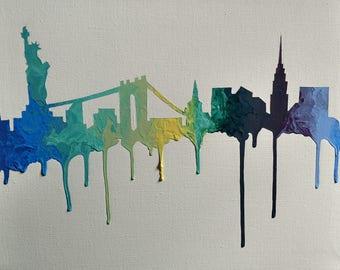 New York City, New York Silhouette Acrylic Painting