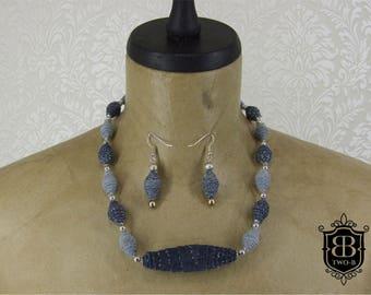 Jewellery set necklace earrings Jeans Denim Blue silver
