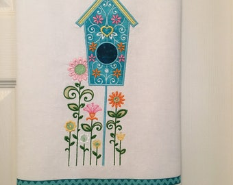 Birdhouse Embroidered Kitchen Towel
