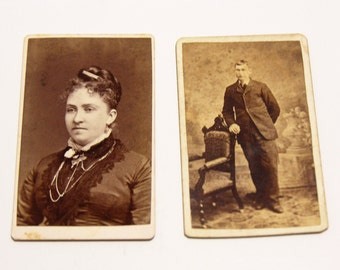 FREE SHIPPING SALE: Pair of Carte De Visite Photographs Antique Old Photos