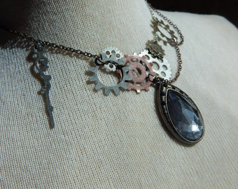 Steampunk tear-drop necklace