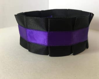 Pleated Satin Collar- Purple