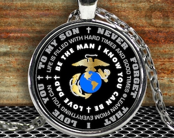 Father Son Necklace - Marines Pendant - Inspirational - Love Dad - Gold/Silver Chain