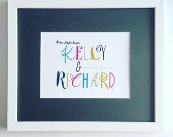 Bespoke Typography Wedding Print/ Personalised Wedding Print/ Typography Wall Art/ Bespoke Wedding Gifts/ Custom Typography Name Art