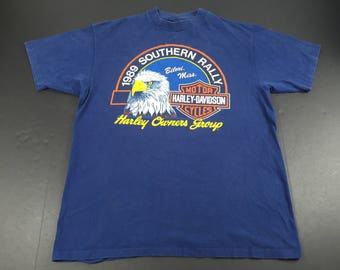 Vintage 1989 Harley Owners Group rally t-shirt mens XL