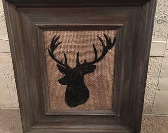 Framed Painted Deer Head