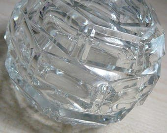 1920 Art Deco Geometric Crystal Perfume Made in CZECHOSLOVAKIA marked acid etched on bottom Ground for stopper dauber grooved for screw cap