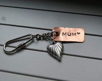 copper key ring, bag charm, mother's day gift
