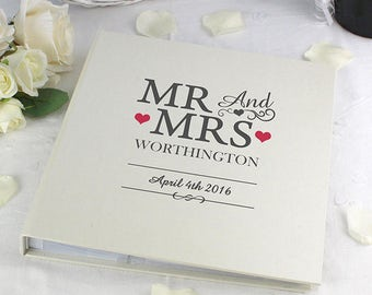 Personalised Mr And & Mrs With Sleeves Cream Photo Album For Wedding Day Gifts Ideas For Anniversary Engagement 5x7 Bride Groom Husband Wife