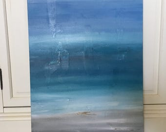 """Abstract Acrylic on Canvas Painting """"Dreams Come True Blue"""""""