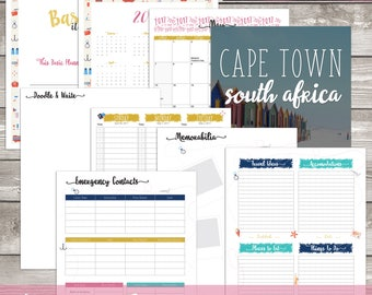 Travel Themed Weekly Dated Discbound & Monthly Calendar Inserts || Planners || Agendas || Calendar