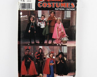 Simplicity Pattern 8004 Child's Halloween Costumes, Witch, Princess, Vampire, Dracula, Maid Marion, Robin Hood, Grim Reaper, Devil